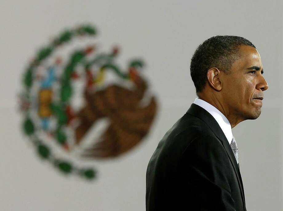 US President Barack Obama pauses while speaking at the Anthropology Museum in Mexico City, Friday, May 3, 2013. (AP Photo/Pablo Martinez Monsivais) Photo: Pablo Martinez Monsivais, Associated Press / AP