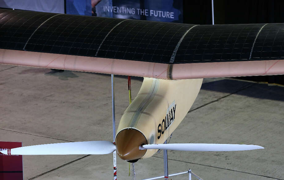 Solar panels sit on the wing of the Solar Impulse at Moffett Field on March 28, 2013 in Mountain View, Calif. Photo: Justin Sullivan, Getty Images / 2013 Getty Images