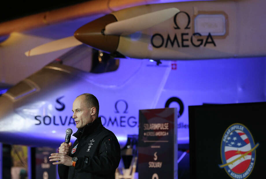 Pilot Bertrand Piccard speaks during a press conference Thursday in California. Photo: Justin Sullivan, Getty Images / 2013 Getty Images