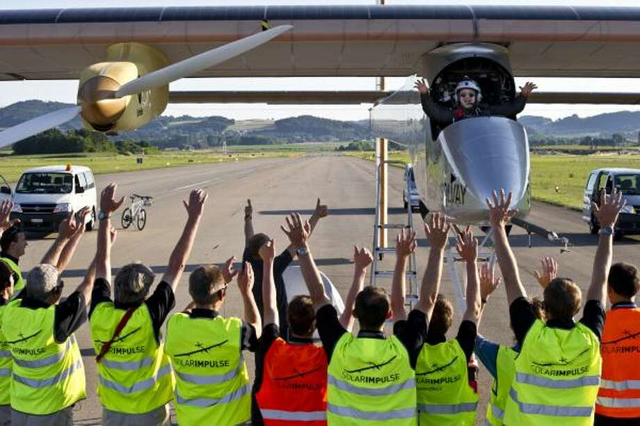 The Solar Impulse team welcomes back the plane in Payerne, Switzerland in July 2011. Photo: Jean Revillard, Solar Impulse