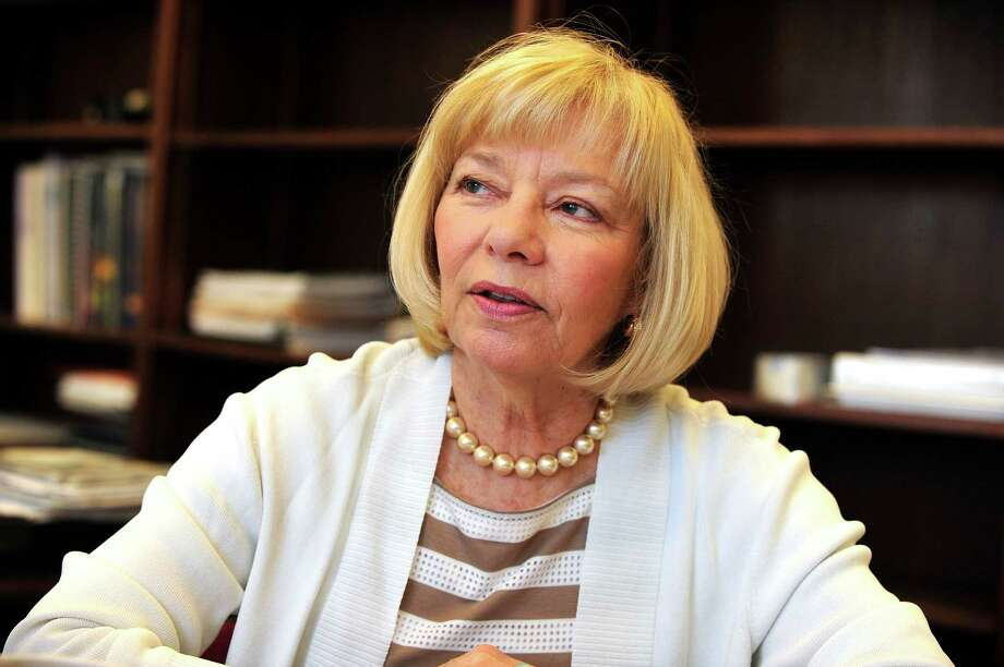 Janet Robinson talks about her time as superintendent of schools in Newtown, Conn. Friday, May 3, 2013, her last day in that position. Photo: Michael Duffy / The News-Times