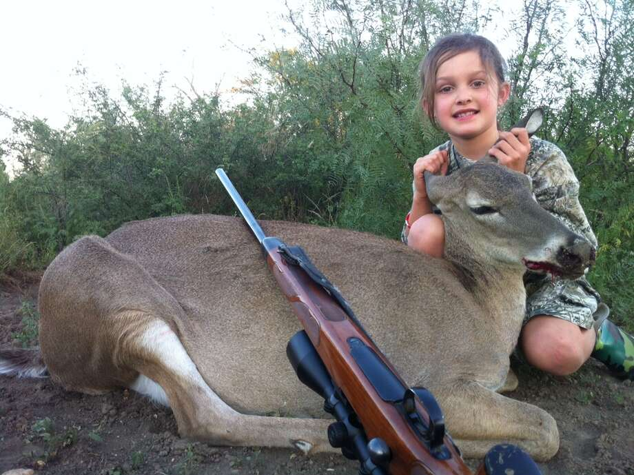 Kynlee R. Lewis, shot her first deer at the age of 7 with her grandfather, Bennie Rush at Winship Ranch in El Indio, Texas.
