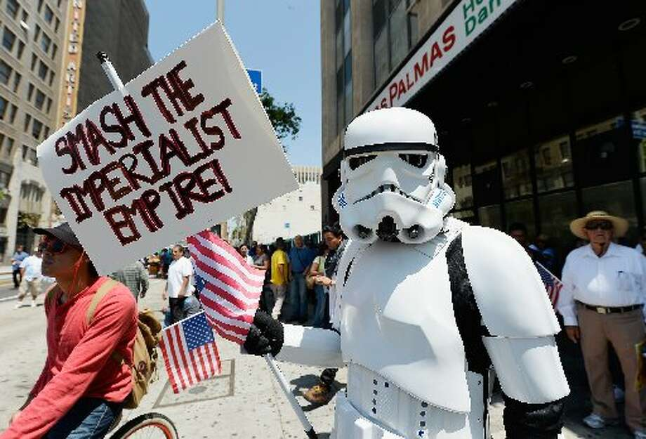 May Day protests included this storm trooper in Los Angeles.