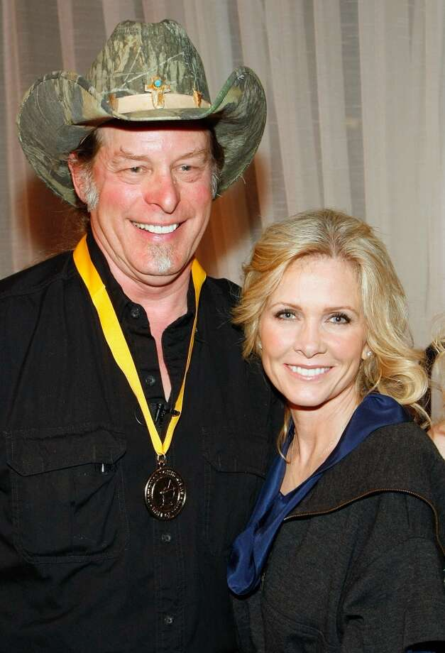 LAS VEGAS - FEBRUARY 06:  Music artist Ted Nugent and his wife Shemane Nugent appear after he was inducted into the National Bowhunters Hall of Fame during the National Field Archery Association's World Archery Festival at the Riviera Hotel & Casino February 6, 2009 in Las Vegas, Nevada. Nugent was inducted in the Excellence in Bowhunting and Literary Excellence categories.