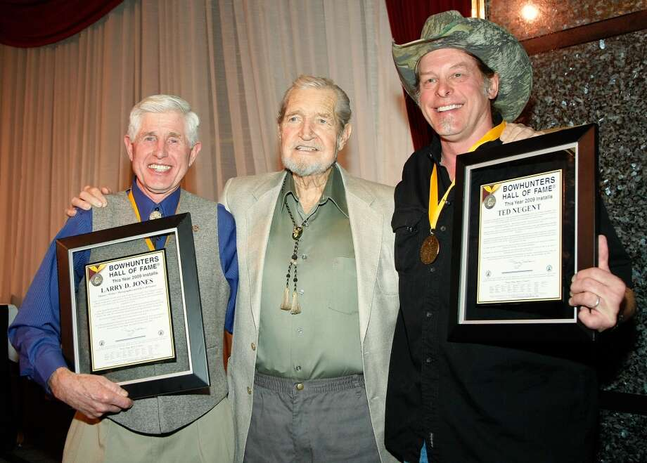 "(L-R) Larry D. Jones, ""National Bowhunter Magazine"" publisher and editor Doug Walker and music artist Ted Nugent appear after Walker inducted Jones and Nugent into the National Bowhunters Hall of Fame during the National Field Archery Association's World Archery Festival at the Riviera Hotel & Casino February 6, 2009 in Las Vegas, Nevada."