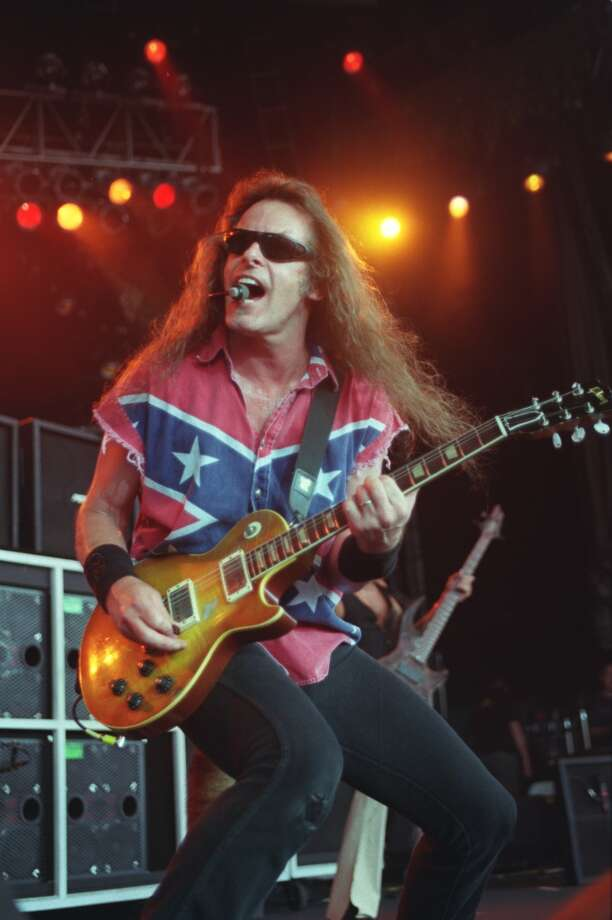 Ted Nugent performs Sunday at the Aero Fest held at Cynthia Woods Mitchell Pavilion. July 8, 2001.