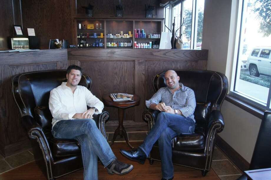 Brandon Elmore, left, and Guy Gonzales, will open the Boardroom Salon for Men in Rice Village in June. They also own a Fort Worth location on  West 7th Street..