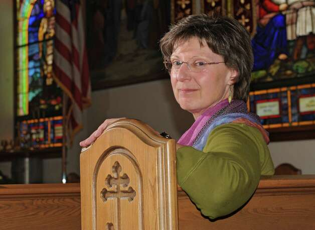 Marie Giokas sits in a pew at St. Basil's Russian Orthodox Church on Monday, April 29, 2013 in Watervliet, N.Y.  (Lori Van Buren / Times Union) Photo: Lori Van Buren / 10022172A