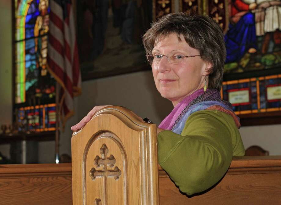 Marie Giokas sits in a pew at St. Basil's Russian Orthodox Church on Monday, April 29, 2013 in Watervliet, N.Y.  (Lori Van Buren / Times Union) Photo: Lori Van Buren / 10022172A