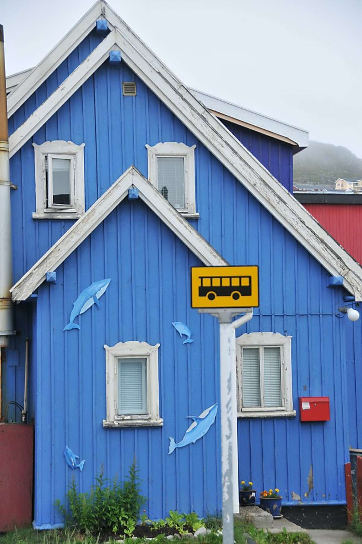A colorful house in the town of Qaqortoq.