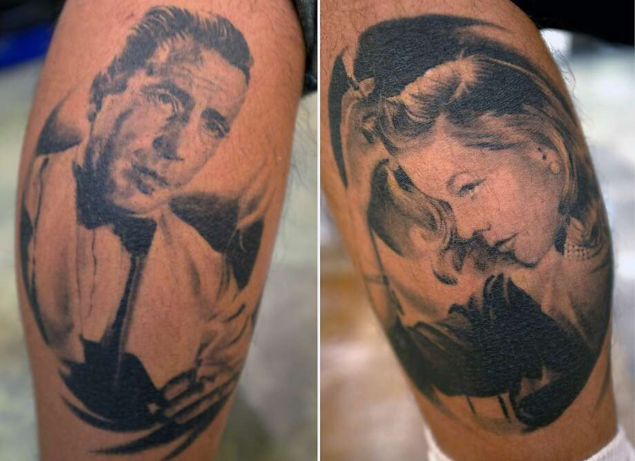 Here's looking at your legs, kid: Bogey and Bacall tats adorn the calves of Brad Davis, who's obviously a fan of Hollywood classics, at the Humphrey Bogart Film Festival in Key Largo, Fla. Photo: Andy Newman, Associated Press