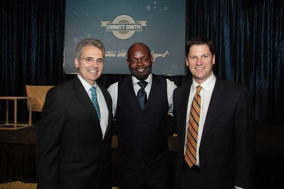 Ron DePinho, M.D., Emmitt Smith and Randy McIlvoy Photo: Pete Baatz