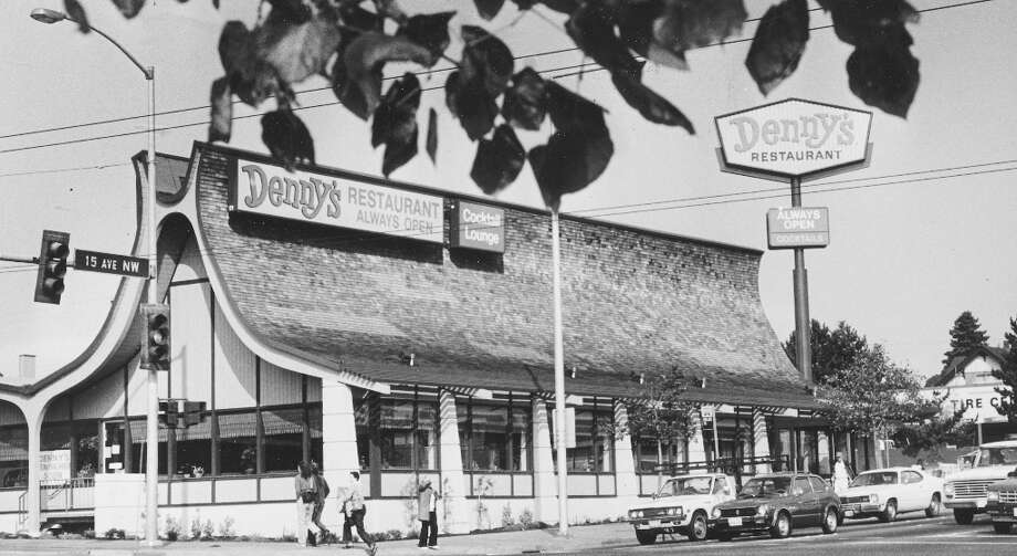 Long before Ballard boomed with bistros and condos, it had Denny's, serving up Grand Slams in a ski-chalet-looking building. It was demolished in 2008. Before Denny's moved in, it was Manning's. Photo: Phil H. Webber, Seattle Post-Intellligencer