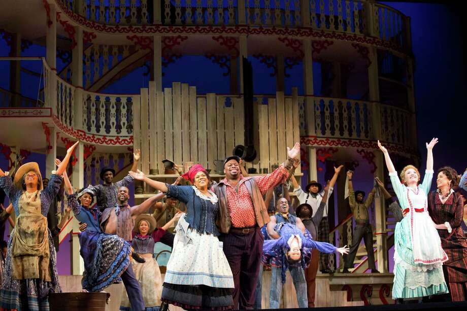 "Houston Grand Opera's ""Show Boat"" - Queenie (Marietta Simpson), Joe (Morris Robinson), Magnolia (Sasha Cooke) and Julie (Melody Moore) sing ""Can't Help Lovin' Dat Man Photo: Felix Sanchez, Photographer / 2012 all rights reserved"