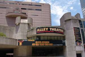 Alley Theatre building - Summer Chills banner: Agatha Christie's And Then There Were None Photo Courtesy of the Alley Theatre