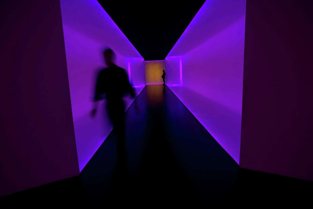 """""""The Light Inside"""" tunnel, by James Turrell, at the Museum of Fine Arts, Houston."""