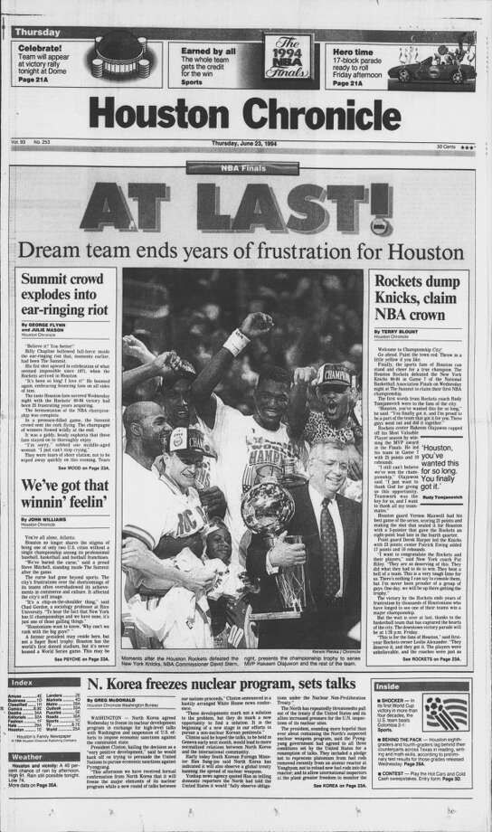 The front page of the Houston Chronicle on June 23, 1994. Photo: Chronicle File Photo