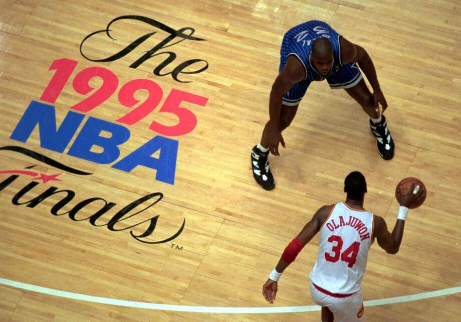 Hakeem Olajuwon took it to Shaq (in his third season) in the 1995 NBA Finals, sweeping the Magic in four games. It is noteworthy to point out the Magic lost in OT by 2 in Game 1, by 11 in regulation in Game 2, by 3 in regulation in Game 3 and by 12 in regulation to close out the series. Photo: ELAINE THOMPSON, Associated Press