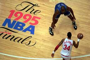 Hakeem Olajuwon took it to Shaq (in his third season) in the 1995 NBA Finals, sweeping the Magic in four games. It is noteworthy to point out the Magic lost in OT by 2 in Game 1, by 11 in regulation in Game 2, by 3 in regulation in Game 3 and by 12 in regulation to close out the series.