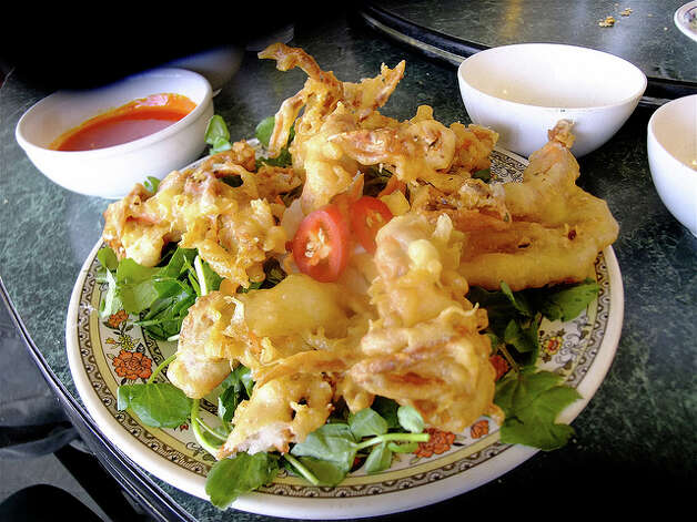 Softshell crab tempura with ripe jalapenos and watercress at Que Huong. Photo: Alison Cook