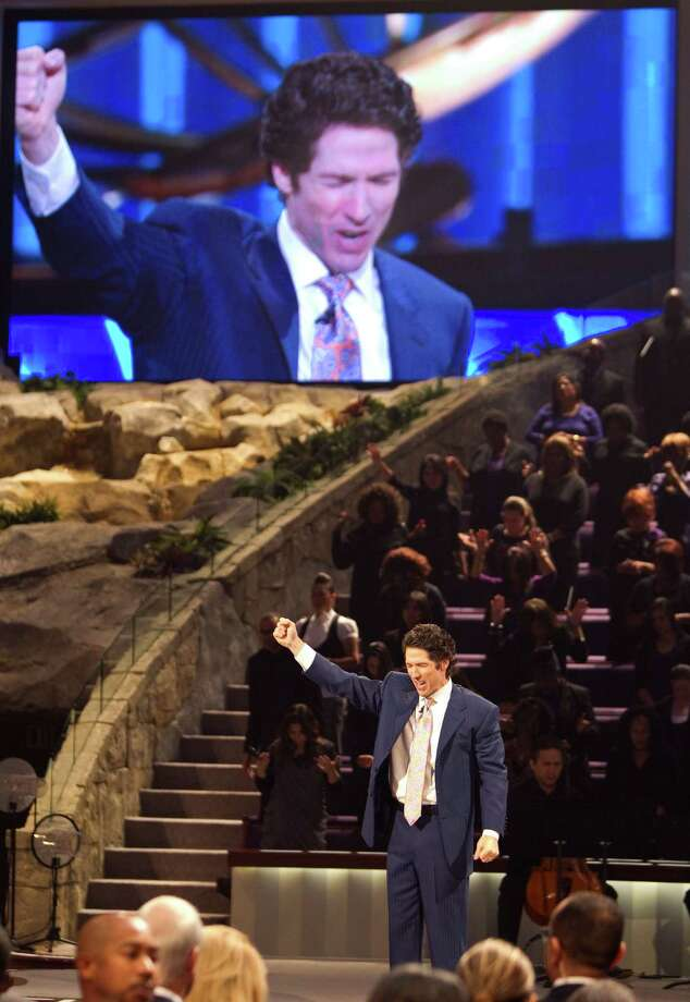 Lakewood Church Pastor Joel Osteen, gives his sermon to his 11 a.m. sermon, Sunday, Aug. 28, 2011, in Houston. Olsteen's church averages about 40,000 people in attendance per week. ( Nick de la Torre / Houston Chronicle ) Photo: Nick De La Torre, Staff / © 2010 Houston Chronicle
