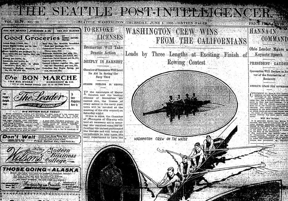 "The first intercollegiate crew race was a June 3, 1903 win against California. Dozens of boats were on Lake Washington dressed in purple and gold, and Husky students and alums who chartered them ""vied with each other in the amount of noise they could produce in some three hours"" as the Husky band played ""Hail to Washington,"" the Seattle Times reported. The Post-Intelligencer article, shown here, had the Huskies time at 9:33, with Fred McElmon as strike, Clinton Lantz in the number three seat, Daniel Pullen in the number two, and Captain Karl Van Kuran in the bow. Photo: Seattlepi.com File"