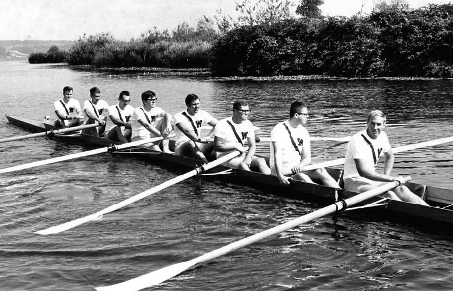 This picture shows the 1958 University of Washington crew that won in Moscow against the Trud Club of Leningrad back on the water again in 1968. Photo: UW Photo/seattlepi.com File