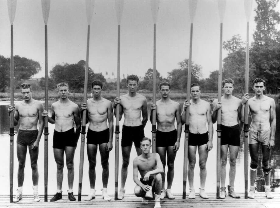 Members of the gold medal 1936 University of Washington crew. From left: Don Hume, stroke; Joe Rantz, No. 7; George Hunt, No. 6; Jim McMillin No. 5, Bob Moch, coxswain; John White, No. 4, Gordy Adam, No. 3, George Day, No. 2, Roger Morris, bow. Photo: UW Photo/seattlepi.com File