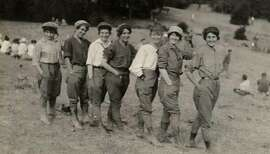 A group of women from the early days of the California Alpine Club show off their new a and scandalous hiking attire: pants. It was the early part of the 20th century and women in those days were expected to wear long skirt, even on the vigorous hikes these women took around Mt. Tamalpais every Sunday. By 1920, they'd had enough of the awkward and uncomfortable skirts. The pants created a mild scandal, but everyone got over it.