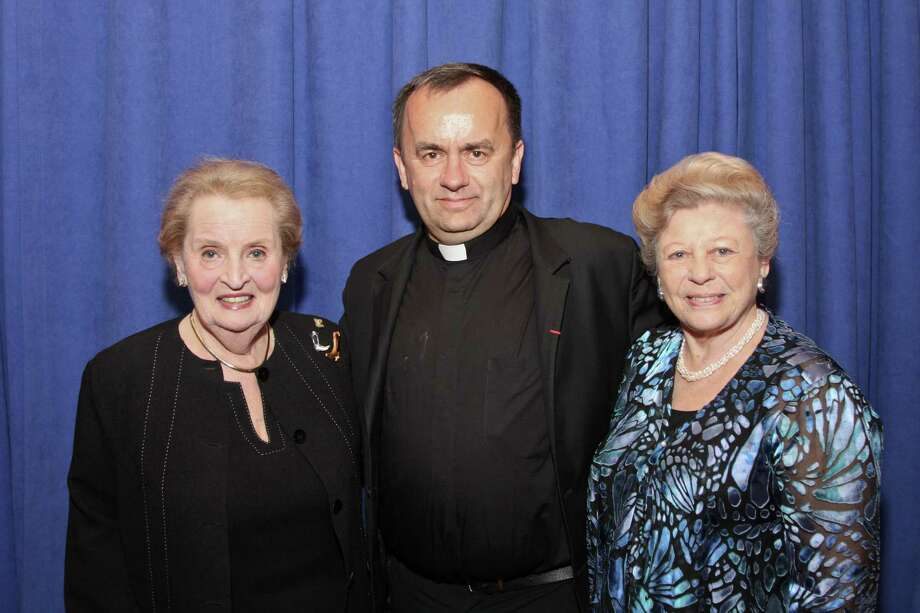 Former Secretary of State Madeleine Albright, left, Father Patrick Desbois and Anna Steinberger Photo: Kim Coffman