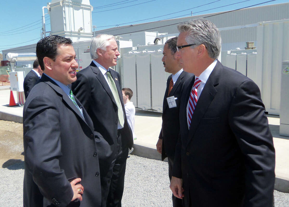 City and state officials, along with executive from Dominion Resources and FuelCell Energy, perform a ceremonial groundbreaking of the largest fuel cell power plant in North America, on the Bridgeport'sd West End. It was dedicated on Friday, May 3, 2013.