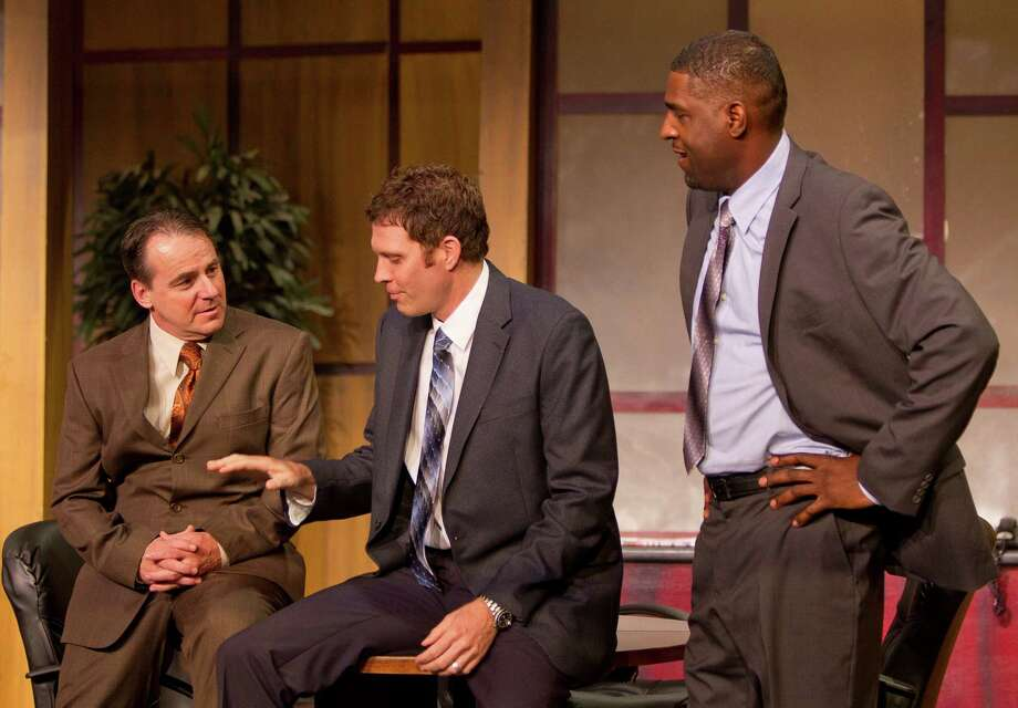 Left to right, Jack Lawson, played by Kevin Daugherty, Charles Strickland, played by Justin Doran, and Henry Brown, played by Mirron Willis, talk about the locker room during a dress rehearsal of the play Race, Wednesday, May 1, 2013, in The Ensemble Theatre in Houston. ( Nick de la Torre / Chronicle ) Photo: Nick De La Torre, Staff / © 2013 Houston Chronicle