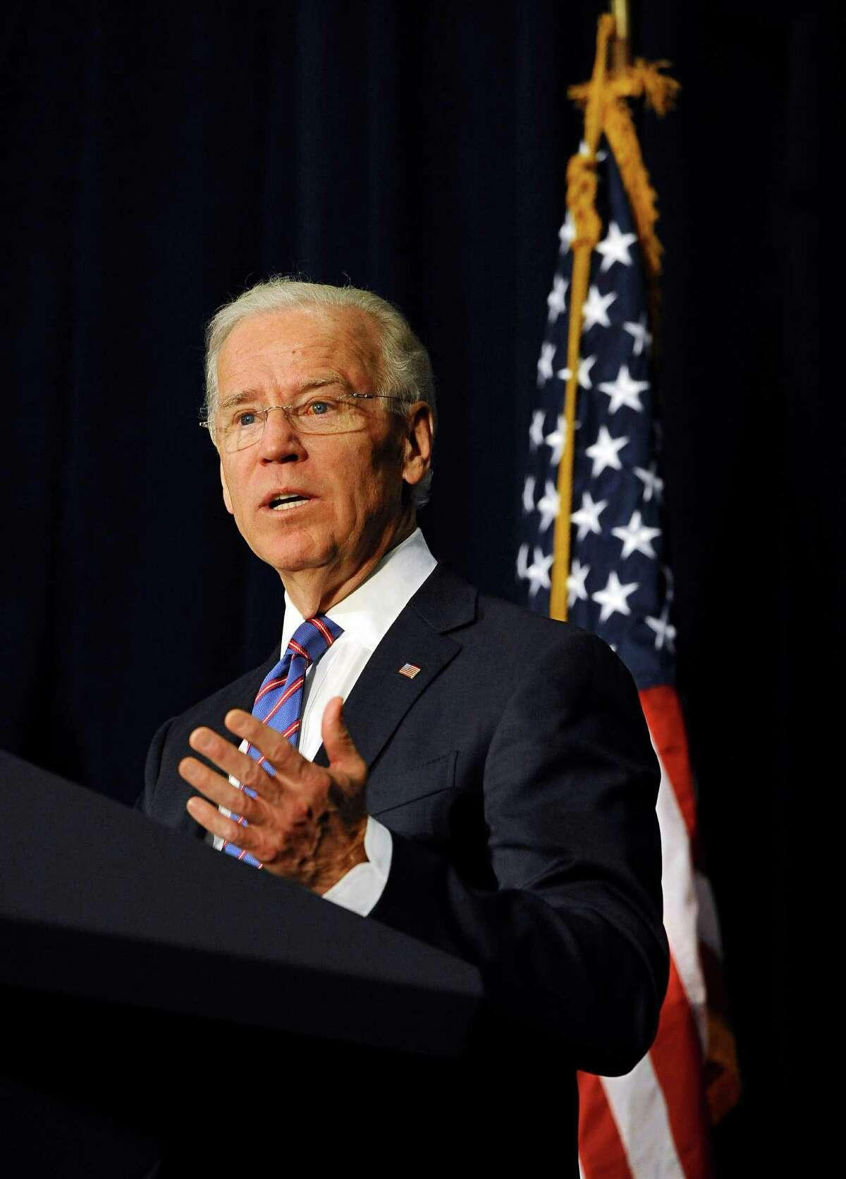 Vice President Joe Biden spoke in February at a gun violence conference in Danbury, Conn., to push President Obama's gun control proposals.