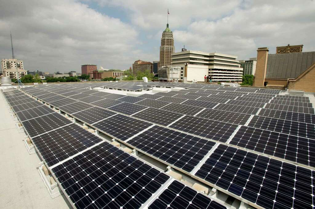 Detail of a new solar panel array, Wednesday, May 1, 2013, on the roof of St. John's Lutheran Church in Downtown San Antonio. The array, which consists of 240 solar panels, is capable of producing up to 60 kilowatt-hours of electricity per day. (Darren Abate/For the Express-News) Photo: Photo By Darren Abate/Express-News