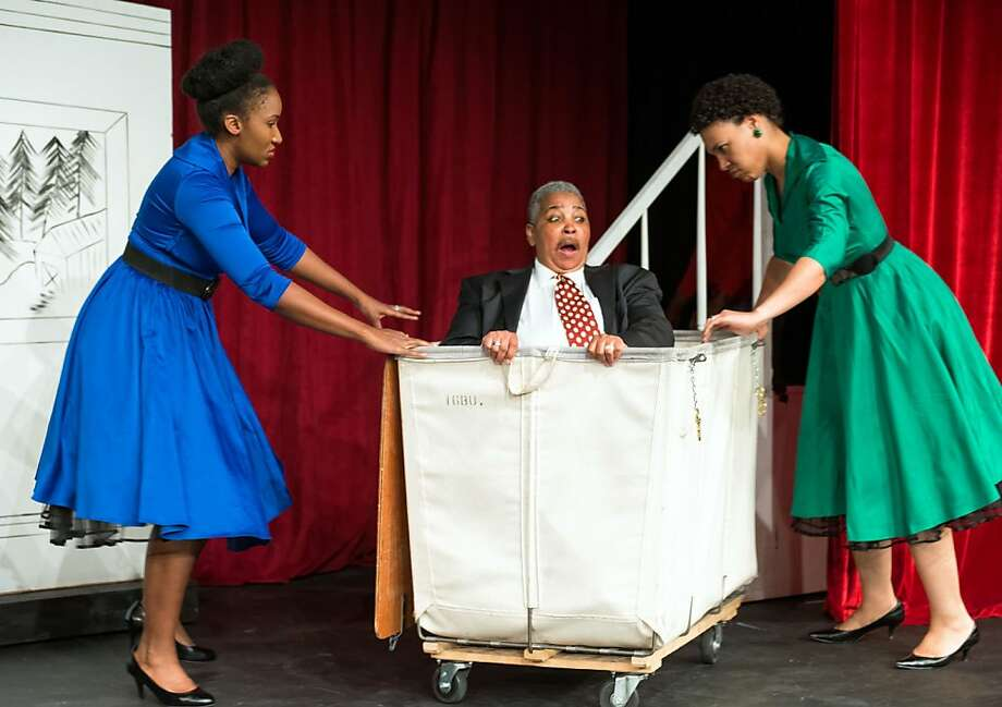 Falstaff (Beli Sullivan) is tricked by Mistress Page (Safiya Fredericks, left) and Mistress Ford (Leontyne Mbele-Mbong). Photo: Lance Huntley