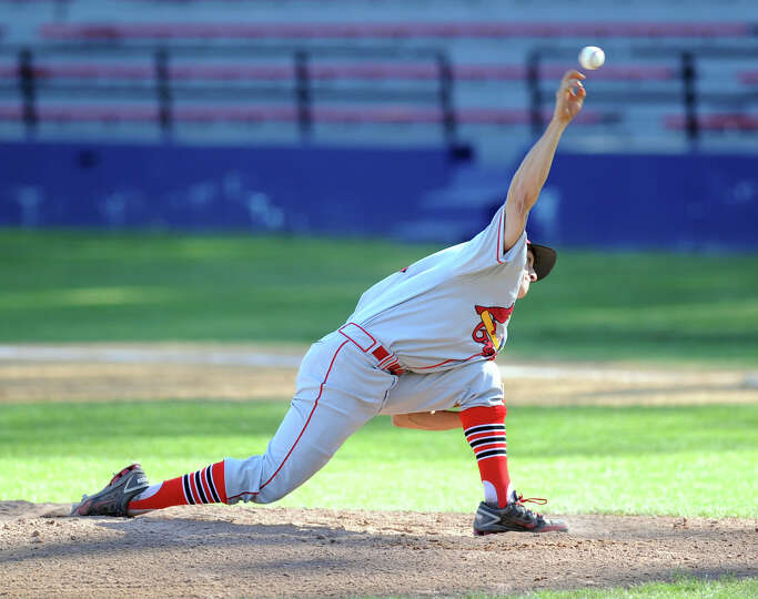 Greenwich pitcher J.T. Hintzen in action during the boys high school baseball game between Greenwich