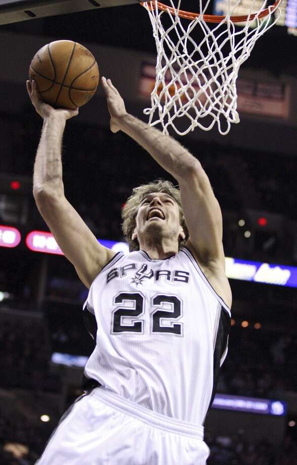 The Spurs' Tiago Splitter shoots against the Pacers during second half action Monday Nov. 5, 2012 at the AT&T Center. The Spurs won 101-79.