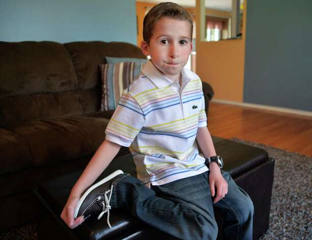 Six-year-old Callahan Urkuhart at his Troy home Tuesday April 30, 2013.  Callahan will be recognized as this year's Heart Hero at the Heart Walk. He had a congenital heart defect and underwent surgery at 9 days old. He's healthy, active and athletic now.  (John Carl D'Annibale / Times Union) Photo: John Carl D'Annibale / 10022147A
