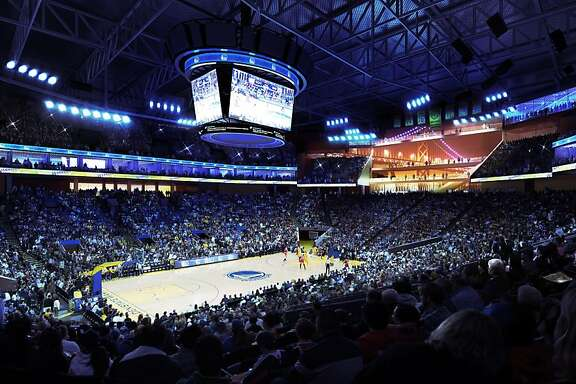Interior shot of proposed Golden State Warriors arena features 25-foot glass curtain offering fans a view of the Bay Bridge -- while those who don't have tickets can peer inside the arena. Image courtesy the Golden State Warriors