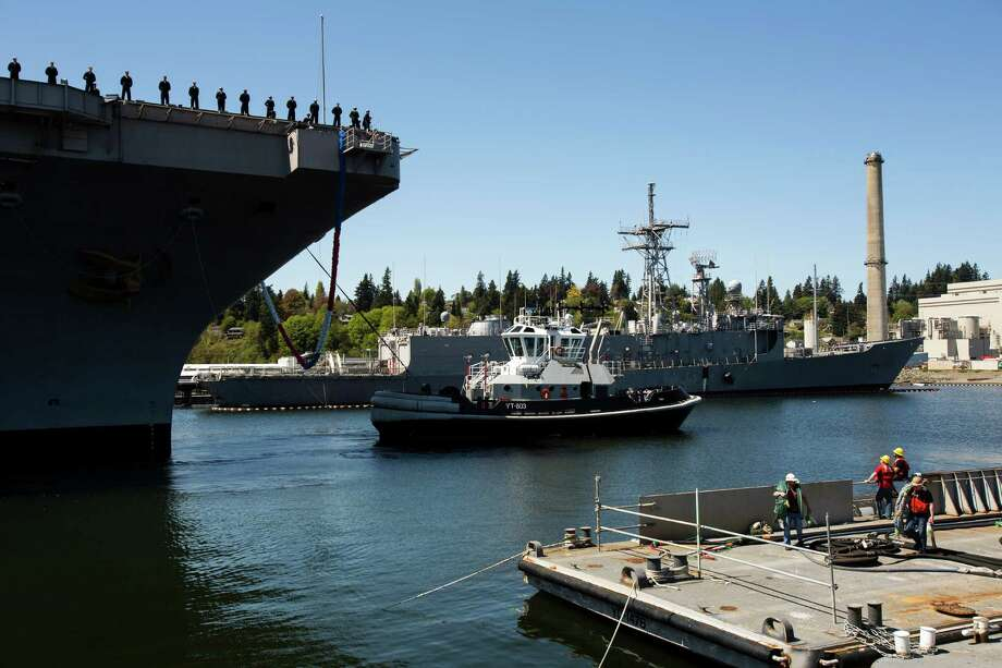 Nearly 2,300 sailors aboard the USS John C. Stennis aircraft carrier returned home to the embraces of family and friends following an eight-month deployment Friday, May 3, 2013, in Bremerton. The crew was stationed in the 5th and 7th fleet areas of U.S. responsibility, namely the Persian Gulf. Photo: JORDAN STEAD, SEATTLEPI.COM / SEATTLEPI.COM