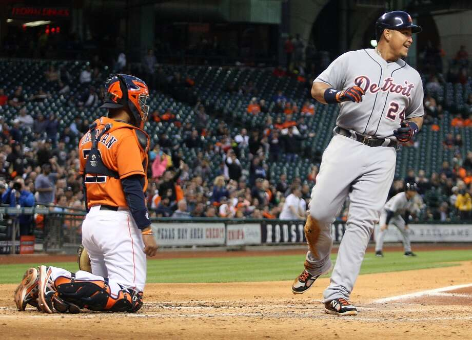 Miguel Cabrera of the Tigers scores against the Astros. Photo: Patric Schneider, Associated Press