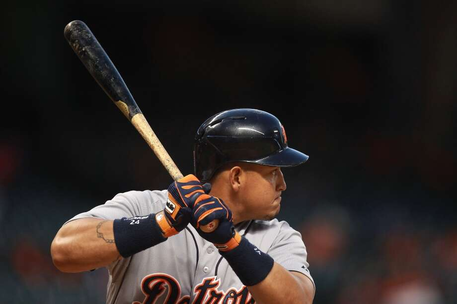 Miguel Cabrera of the Tigers awaits a pitch against the Astros.