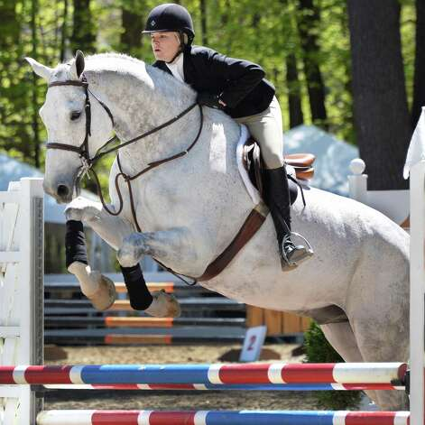 Hayley Mairano, 14, of Simsbury, Conn., rides Castelano in the 12-14 open equitation during the 2013 Saratoga Springs Horse Show in Saratoga Springs, NY Friday May 3, 2013.  (John Carl D'Annibale / Times Union) Photo: John Carl D'Annibale / 10022249A