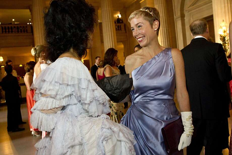 Tanya Powell (left) chats with Larissa Roesch during the cocktail hour at San Francisco Ballet's Cinderella Opening Night Ball at War Memorial Opera House in San Francisco, Calif., on Friday, May 3, 2013.  The party celebrated the opening night and United States premiere of choreographer Christopher Wheeldon's production of Cinderella. Photo: Laura Morton, Special To The Chronicle