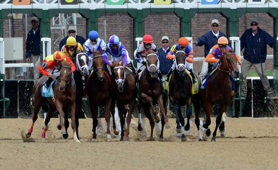 There was a traffic jam at the start of the 139th running of the Kentucky Oaks at Churchill Downs May 3, 2013, in Louisville, Kentucky.  The race was won by Princess of Sylmar ridden by jockey Mike Smith.   (Skip Dickstein/Times Union) Photo: SKIP DICKSTEIN