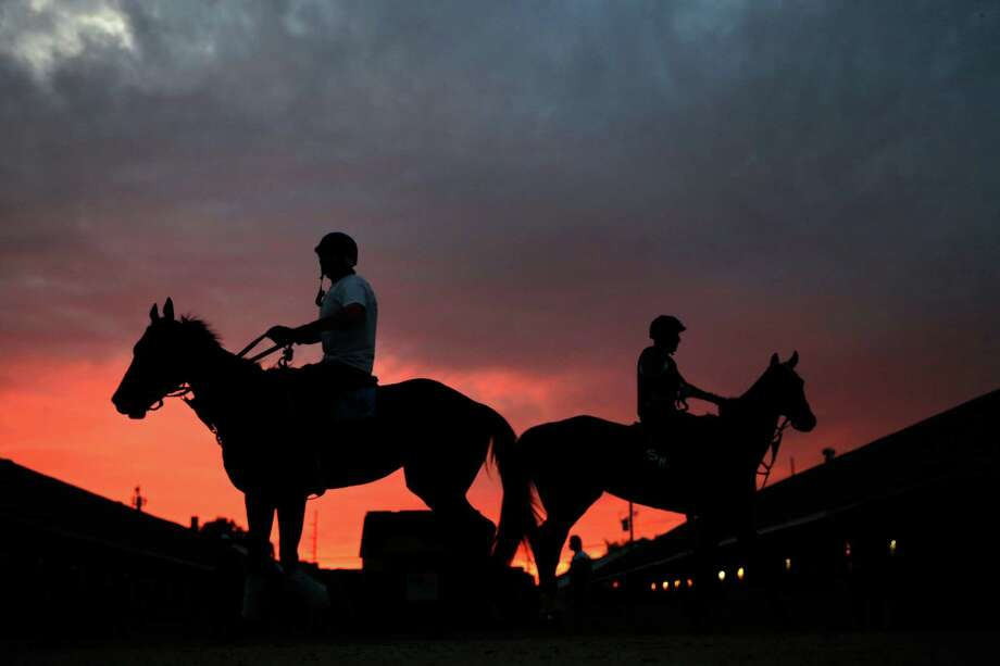 Horses walk in the stable as the sun rises during morning workouts for the 2013 Kentucky Derby at Churchill Downs on May 3, 2013 in Louisville, Kentucky.  (Photo by Jamie Squire/Getty Images) Photo: Jamie Squire