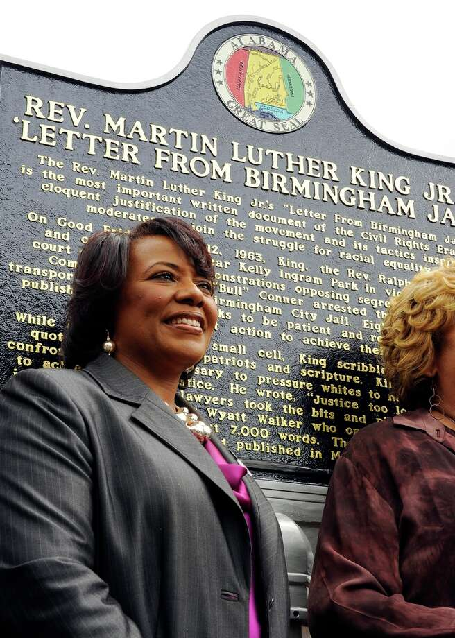 "Bernice A. King speaks near a jail where her father, Dr. Martin Luther King Jr., was kept in Birmingham. She was there for the unveiling of a historic marker honoring him April 16, 2013. She visited Birmingham on the day Dr. King penned the famous ""Letter from the Birmingham jail."" Photo: Joe Songer"