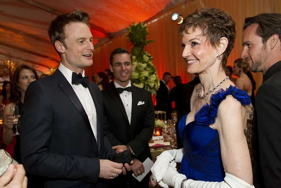 Choreographer Christopher Wheeldon (left) talks with Denise Littlefield  Sobel during San Francisco Ballet's Cinderella Opening Night Ball in San Francisco, Calif., on Friday, May 3, 2013.  The party celebrated the opening night and United States premiere of Wheeldon's production of Cinderella. Photo: Laura Morton, Special To The Chronicle