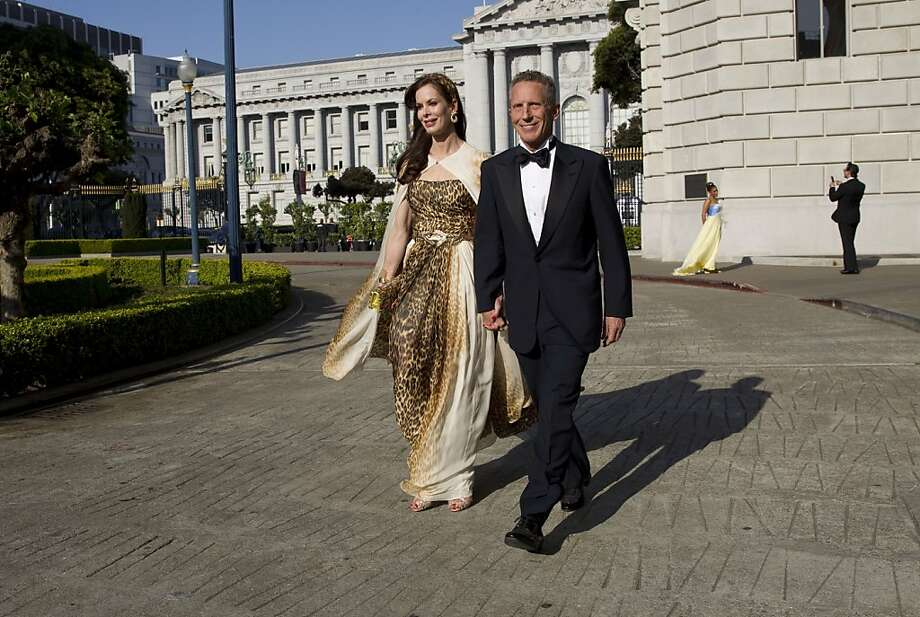 Stephanie Ejabat and Jim Marver walk to the dinner tent while attending San Francisco Ballet's Cinderella Opening Night Ball at War Memorial Opera House in San Francisco, Calif., on Friday, May 3, 2013.  Ejabat was one of the co-chairs of the event. Photo: Laura Morton, Special To The Chronicle