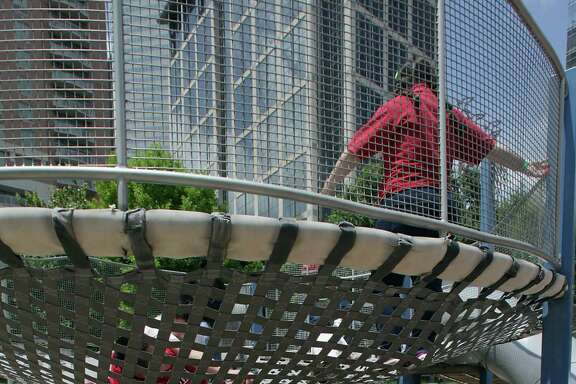 Playgrounds help attract families to Discovery Green. The park is holding special events to commemorate its fifth anniversary.